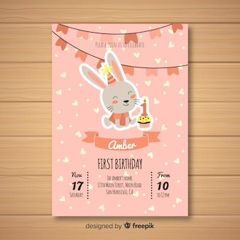 Primeiro cartão de convite de festa de aniversário
