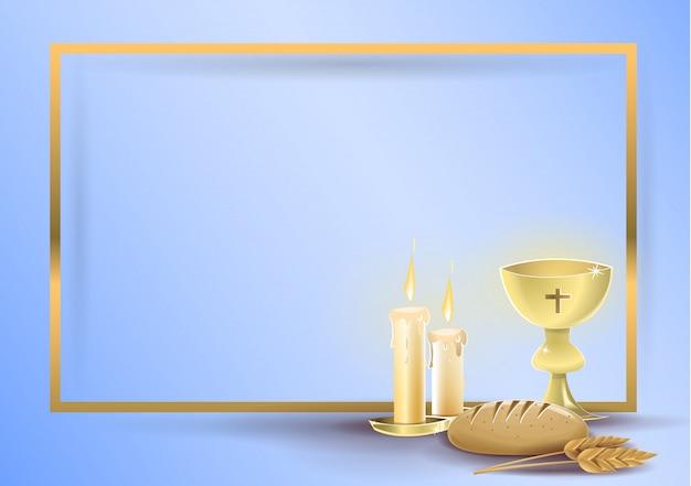 Primeiro cartão de convite religioso de comunhão