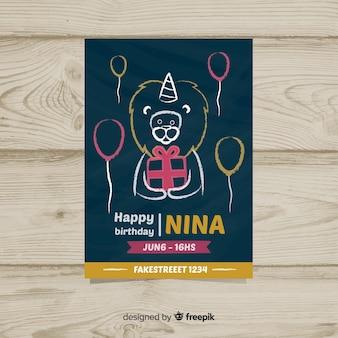 Primeiro cartão de festa de aniversário