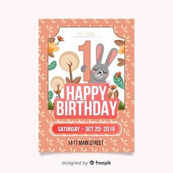 Primeiro cartão de madeira de aniversário