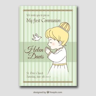 Primeiro, comunhão, cartão, desenho, menina, orando