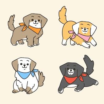 Primeiro conjunto de desenhos de mascote de cachorros adoráveis e adoráveis