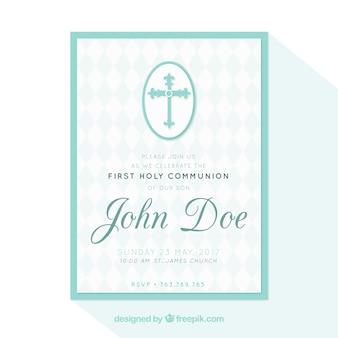 Primeiro convite da comunhão com uma cruz
