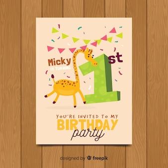 Primeiro convite de aniversário girafa