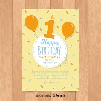 Primeiro convite de confetes de aniversário