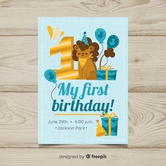 Primeiro convite do leão do aniversário