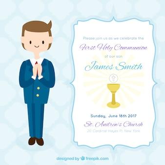 Primeiro convite do menino do comunhão