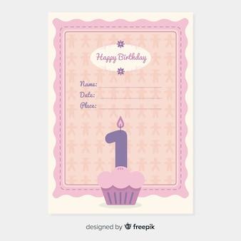 Primeiro convite do queque do aniversário