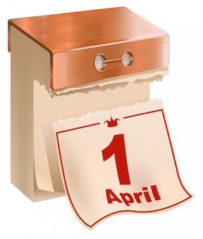 Primeiro de abril, dia da mentira. folha de calendário destacável