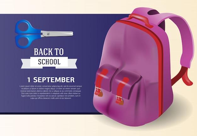 Primeiro de setembro, de volta ao design de cartaz da escola com mochila