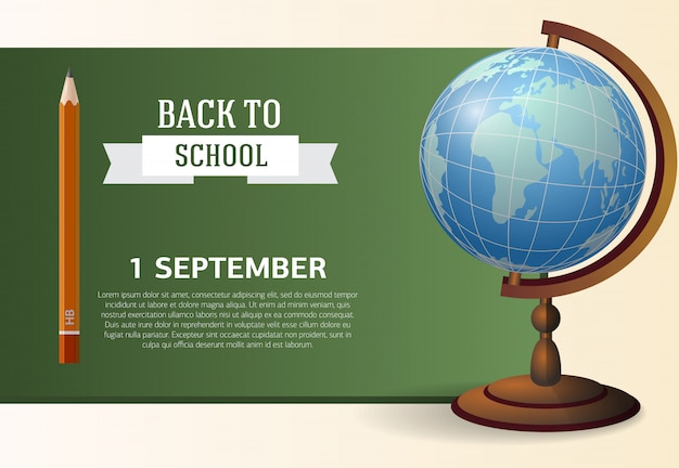 Primeiro de setembro, volta para o design de cartaz de escola com lousa