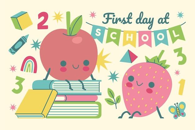 Primeiro dia de fundo escolar