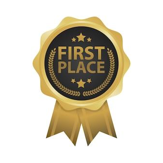Primeiro lugar ganha ilustração de emblemas de ouro.