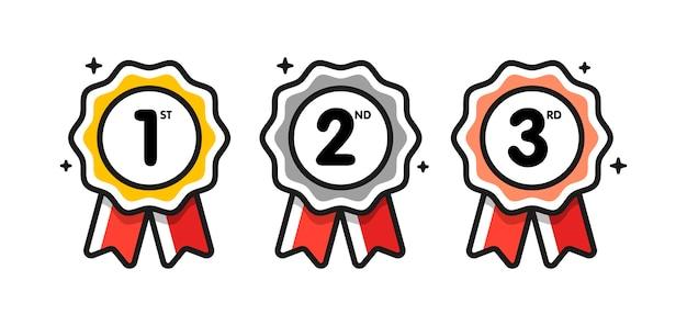 Primeiro lugar. segundo lugar. terceiro lugar. conjunto de medalhas de prêmio isolado no branco com fitas e estrelas.