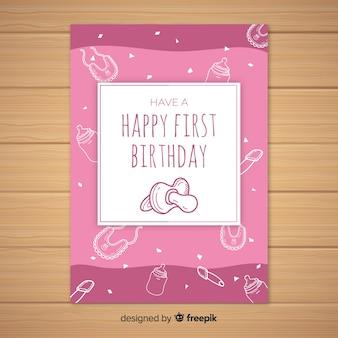 Primeiro modelo de cartão de chupeta de aniversário mão desenhada