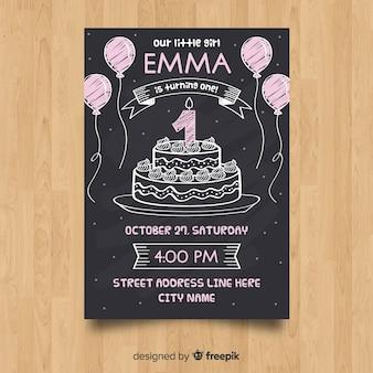 Primeiro molde do cartão do bolo do quadro-negro do aniversário
