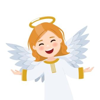 Primeiro plano anjo voando sobre fundo branco. ilustração plana