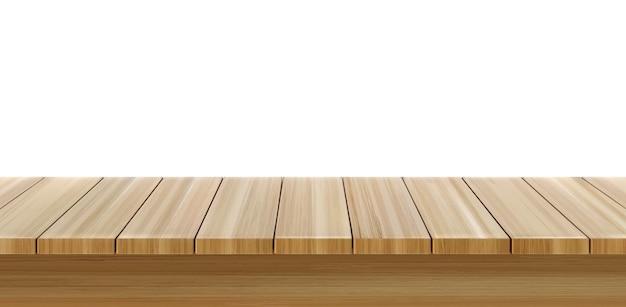 Primeiro plano da mesa de madeira, vista frontal da mesa de madeira, superfície da bancada rústica marrom claro.