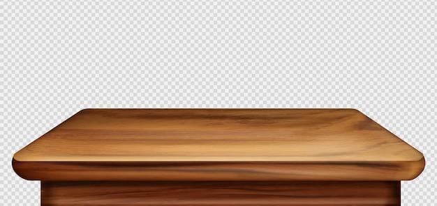 Primeiro plano da mesa de madeira, vista frontal da mesa vintage