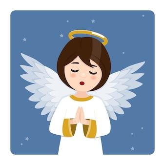 Primeiro plano orando anjo no céu azul e estrelas. ilustração vetorial plana