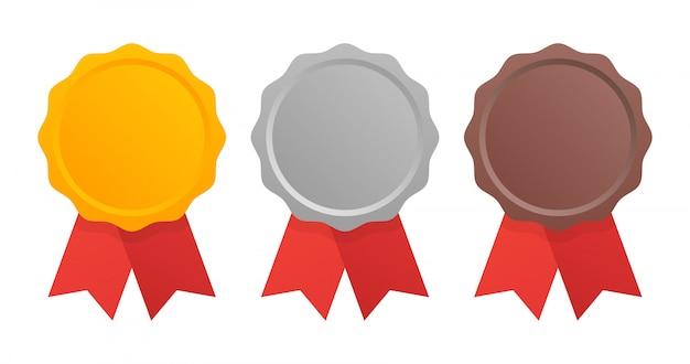 Primeiro, segundo e terceiro lugar. medalhas de prêmio conjunto isolado no branco com fitas.