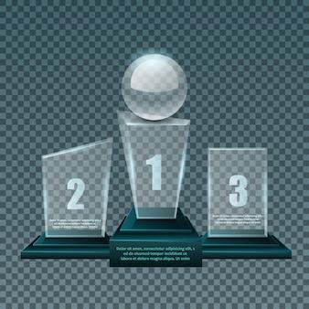 Primeiro, segundo e terceiro lugar.