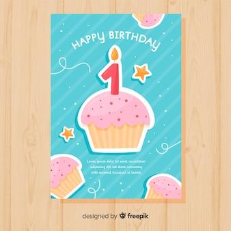 Primeiros cupcakes de aniversário saudando