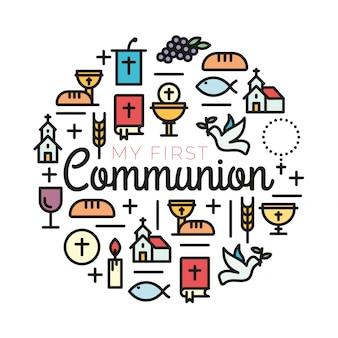 Primeiros símbolos de comunhão para um belo design de convite