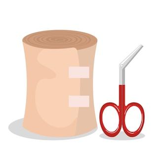 Primeiros socorros banda ícone vector ilustração design