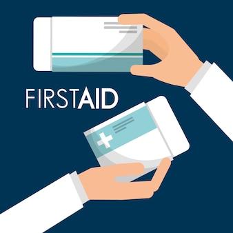 Primeiros socorros mão segurando embalagem medicina