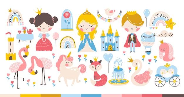 Princesa arco-íris com animais e pássaros unicórnio flamingo cisne castelo carruagem fofa
