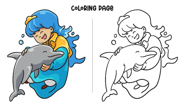 Princesa azul abraçando um lindo golfinho
