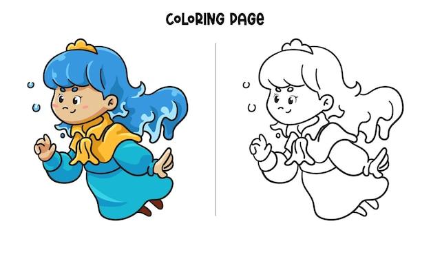 Princesa azul brincando com bolhas Vetor Premium