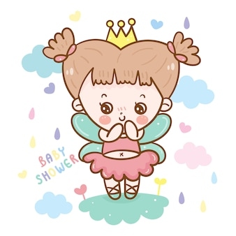 Princesa bonito do conto de fadas para a menina do chuveiro de bebê