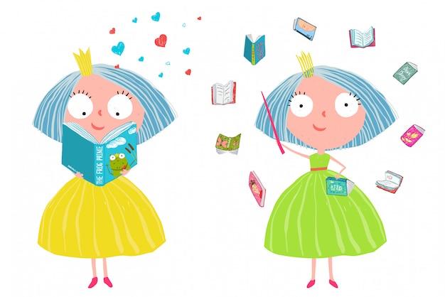 Princesa bonito do conto de fadas que lê livros mágicos