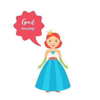 Princesa bonito dos desenhos animados com bolha do discurso