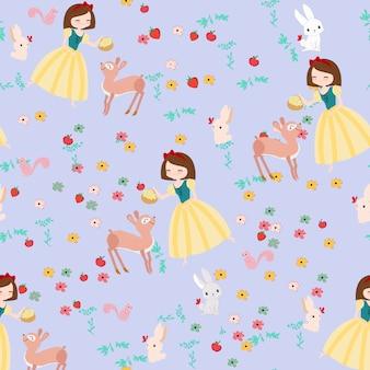 Princesa bonito dos desenhos animados e padrão sem emenda de animais selvagens