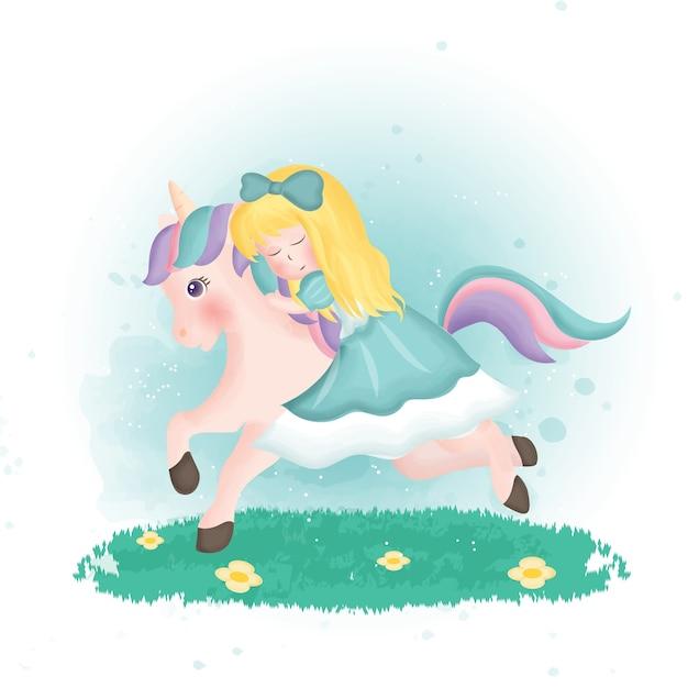 Princesa bonito dos desenhos animados montando um unicórnio no chiqueiro de aquarela.