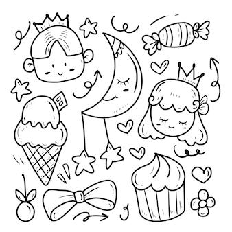 Princesa bonito e príncipe desenho doodle conjunto de coleta