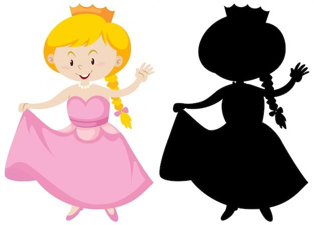 Princesa bonito na cor e silhueta