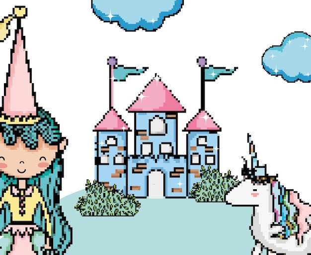 Princesa bonito no desenho de arte do pixel do castelo