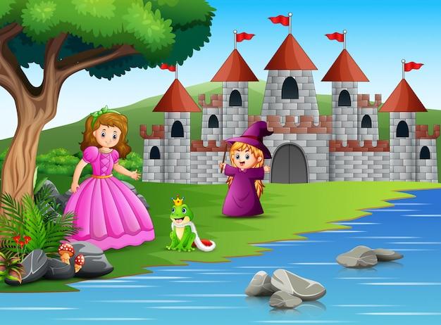 Princesa, bruxinha e um sapo na natureza