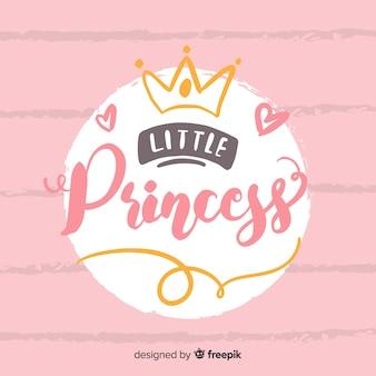 Princesa caligráfica fundo desenhado à mão