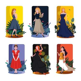 Princesa cartão modelos coloridos modelo vector