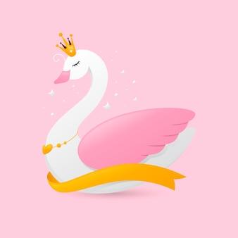 Princesa cisne com coroa e fita