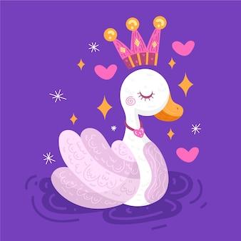 Princesa cisne com coroa rosa e dourada