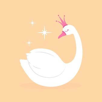 Princesa cisne com coroa rosa