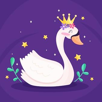 Princesa cisne com coroa