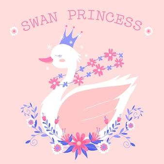 Princesa cisne com flores