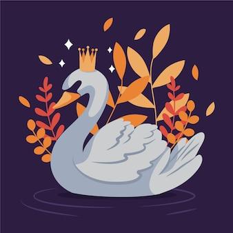 Princesa cisne com folhas